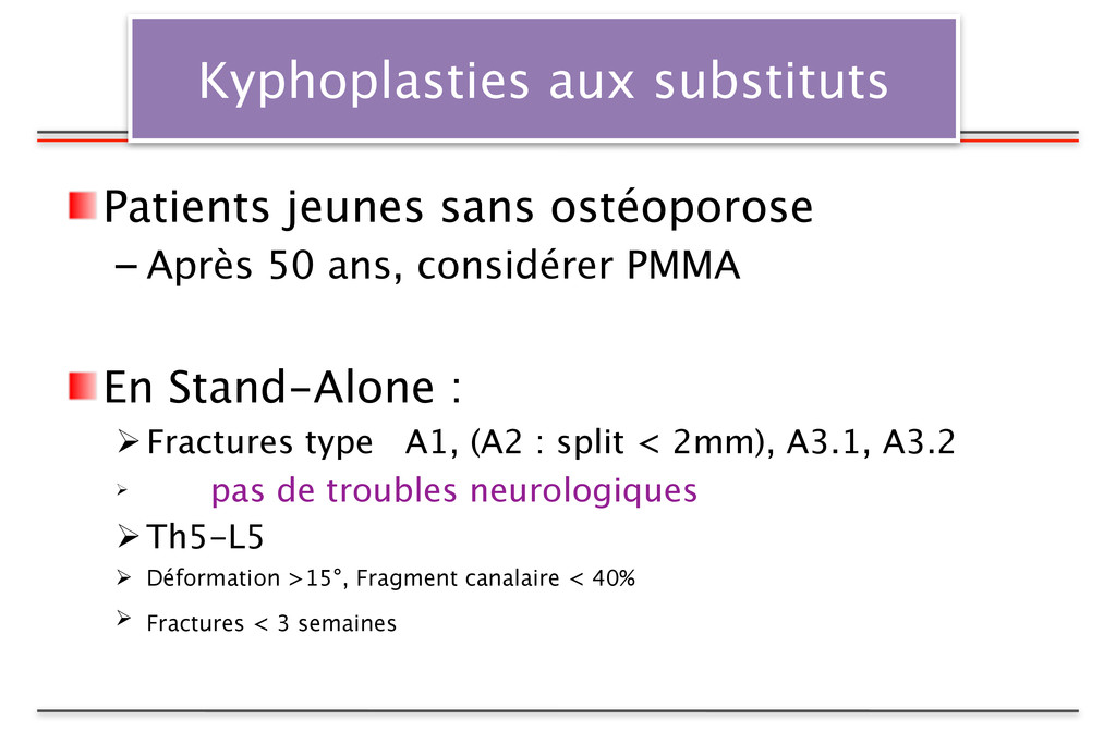 Kyphoplasties aux substituts Patients jeunes sa...