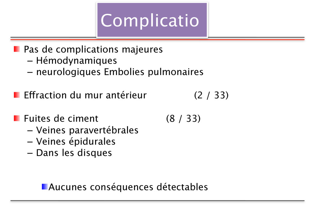 Complicatio Pas de complications majeures – Hém...