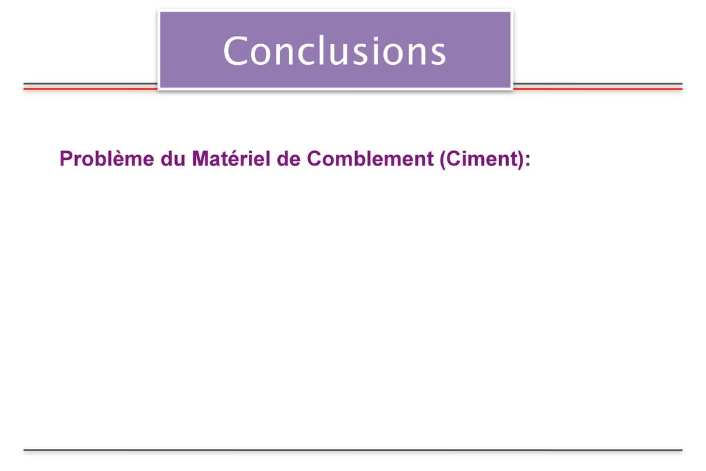 Conclusions Problème du Matériel de Comblement ...