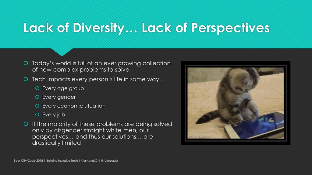 Lack of Diversity… Lack of Perspectives  Today...