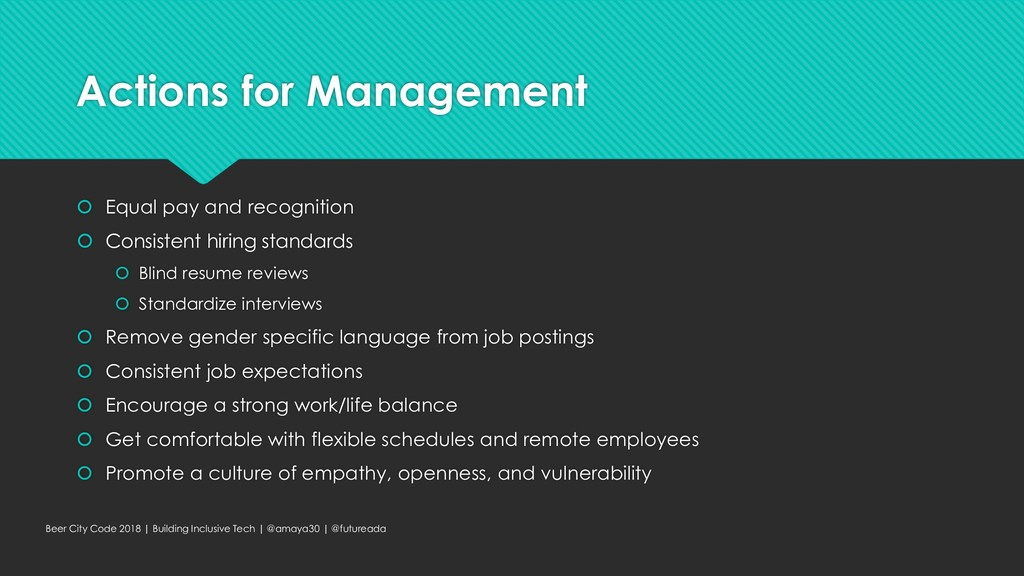 Actions for Management  Equal pay and recognit...