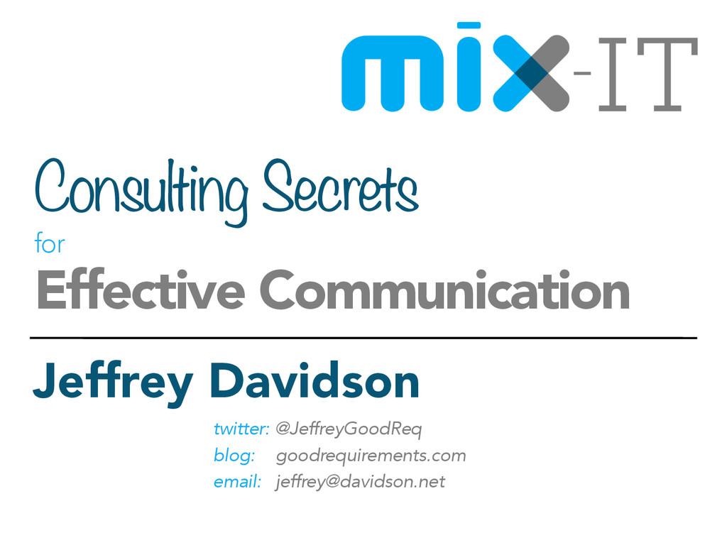 Consulting Secrets  for  Effective Communicat...