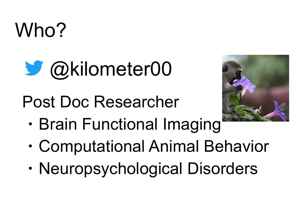 Who? @kilometer00 Post Doc Researcher ・Brain Fu...