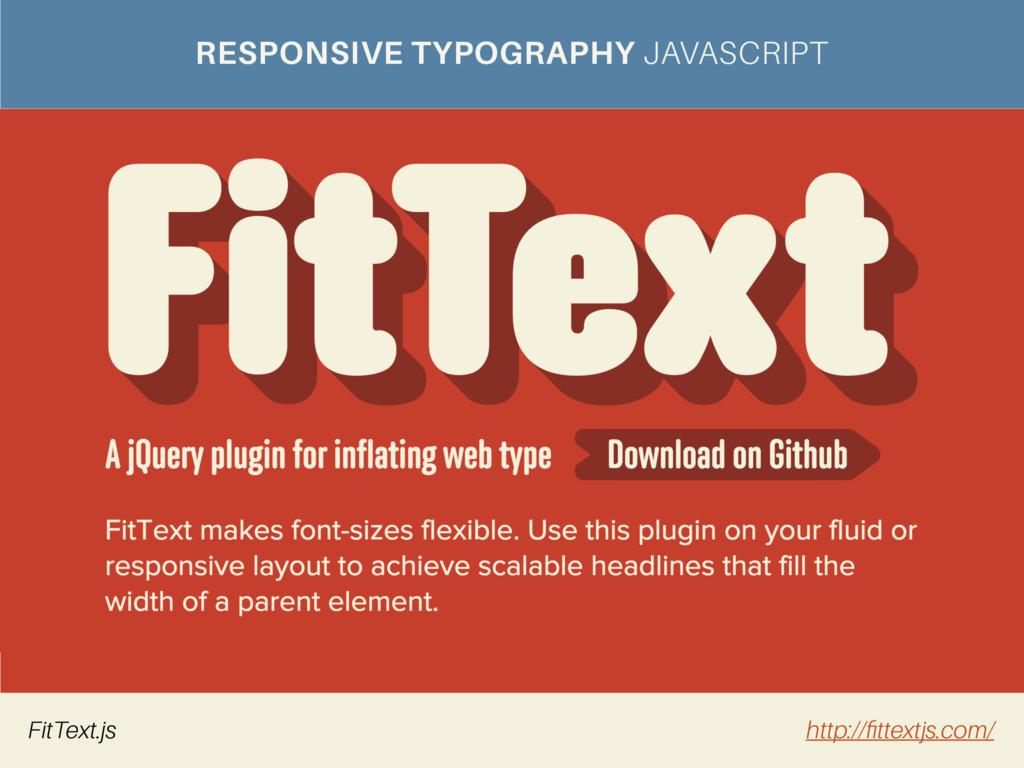 RESPONSIVE TYPOGRAPHY JAVASCRIPT FitText.js htt...