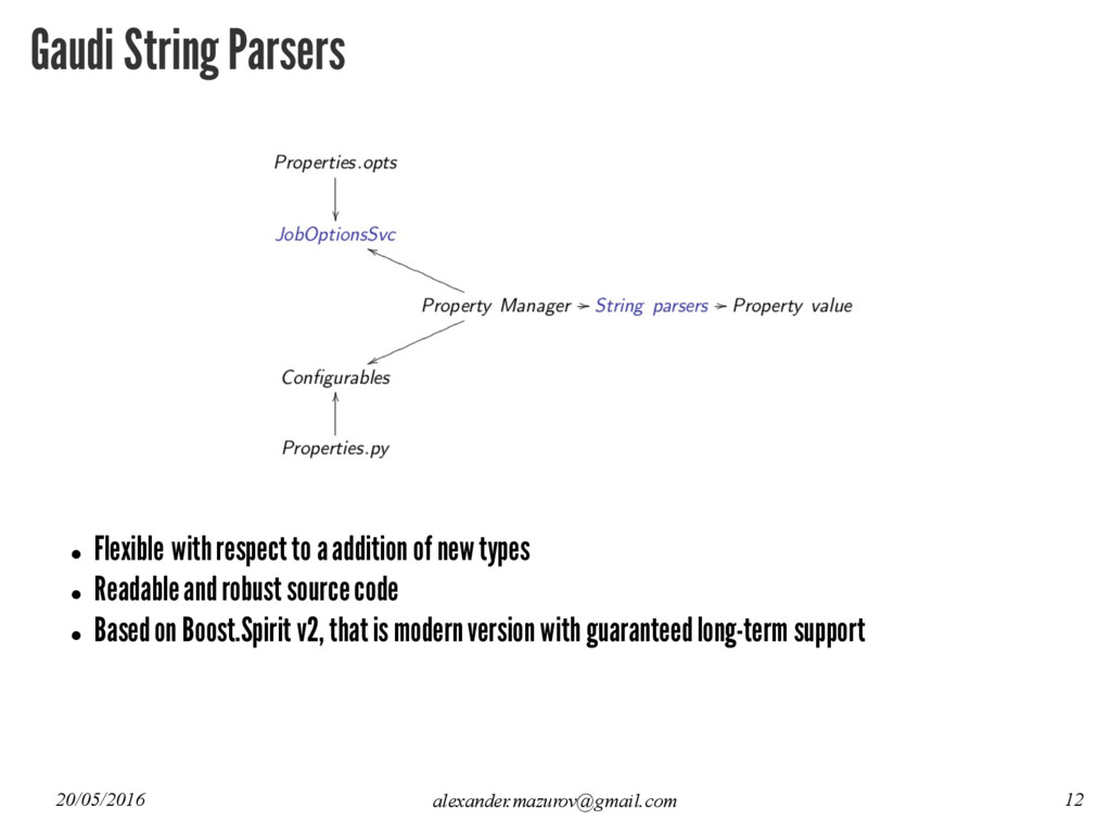 Gaudi String Parsers l Flexible with respect to...