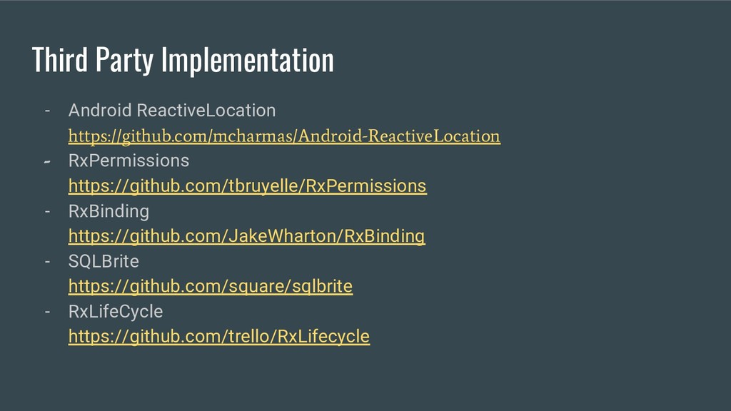 Third Party Implementation - Android ReactiveLo...