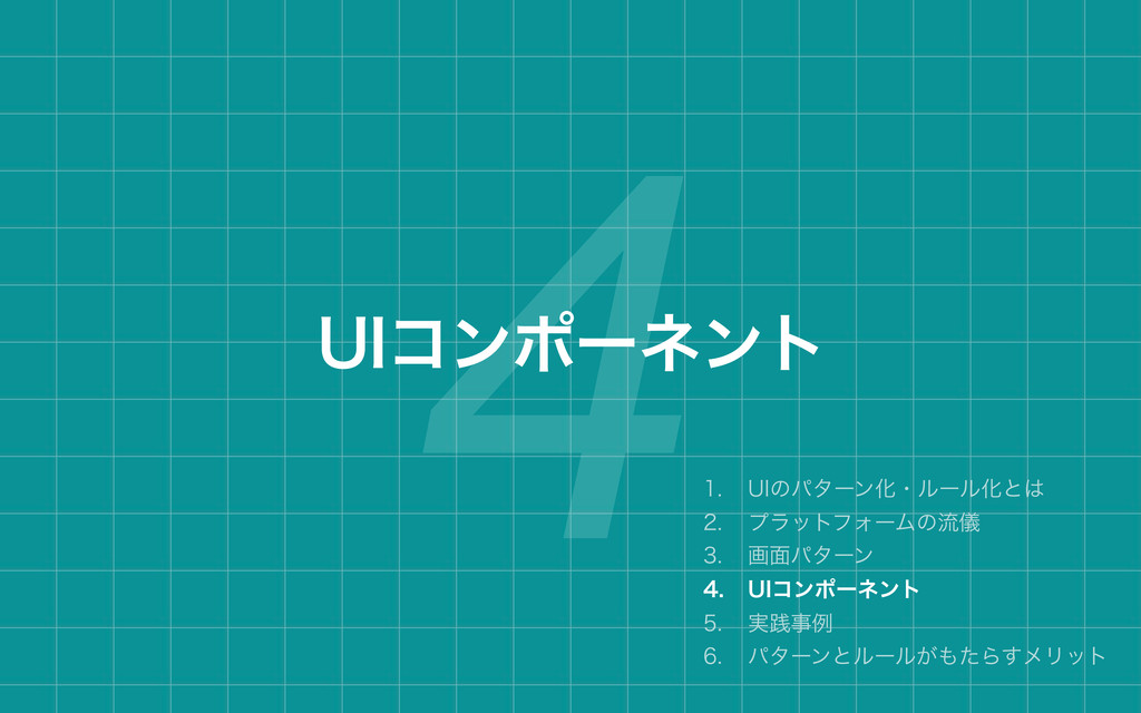 4 6*ίϯϙʔωϯτ  6*ͷύλʔϯԽɾϧʔϧԽͱ  ϓϥοτϑΥʔϜͷྲّྀ...
