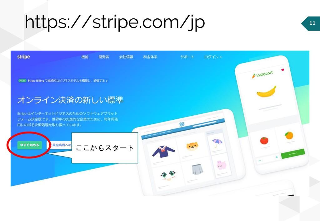 11 https://stripe.com/jp ここからスタート