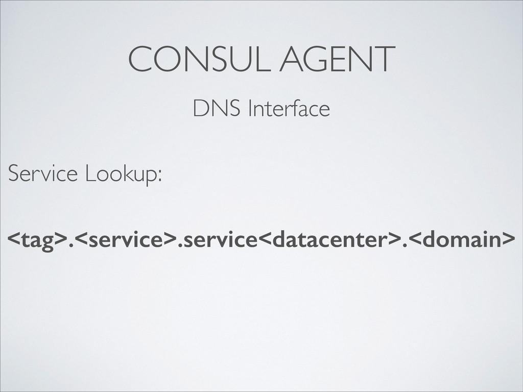 CONSUL AGENT DNS Interface <tag>.<service>.serv...
