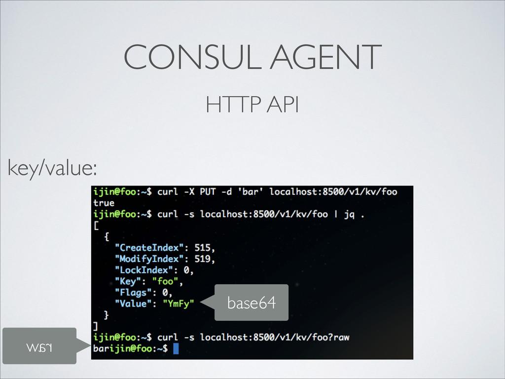 CONSUL AGENT HTTP API key/value: base64 raw