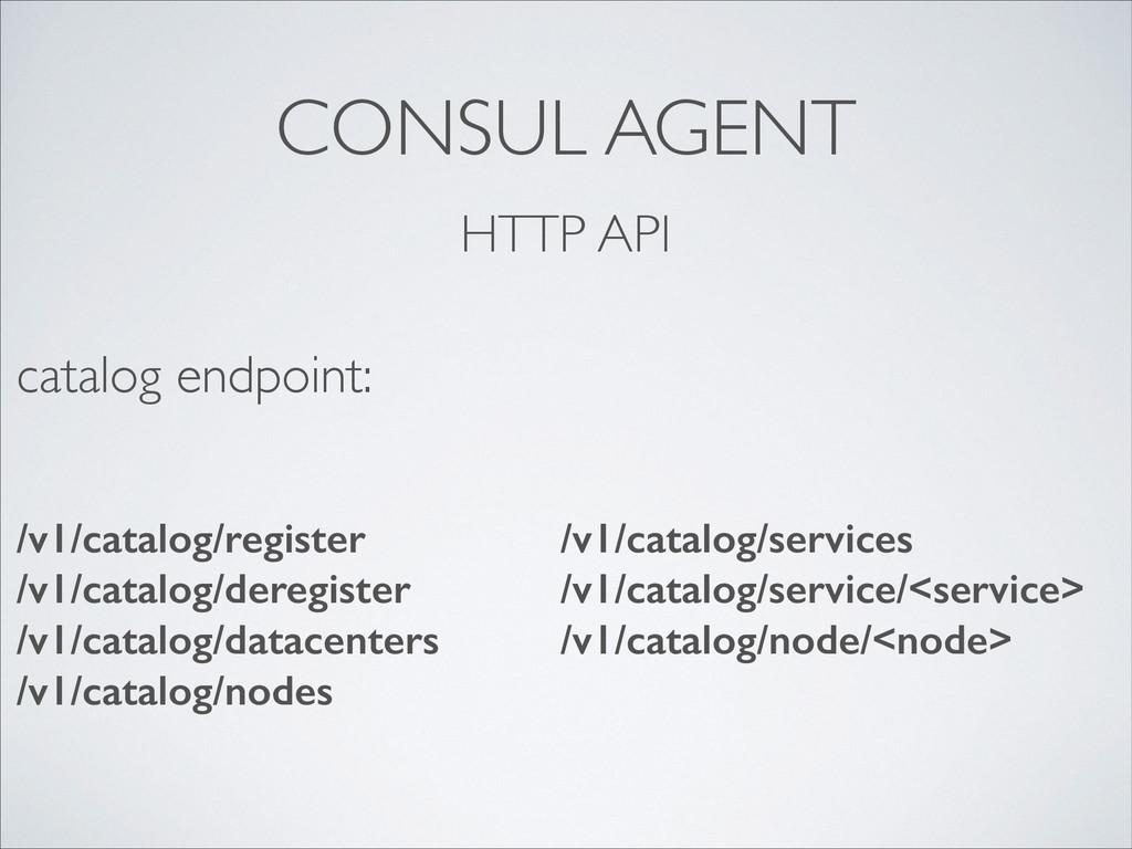 CONSUL AGENT HTTP API /v1/catalog/register /v1/...