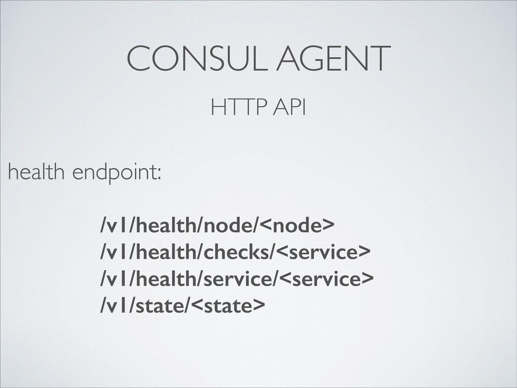 CONSUL AGENT HTTP API /v1/health/node/<node> /v...