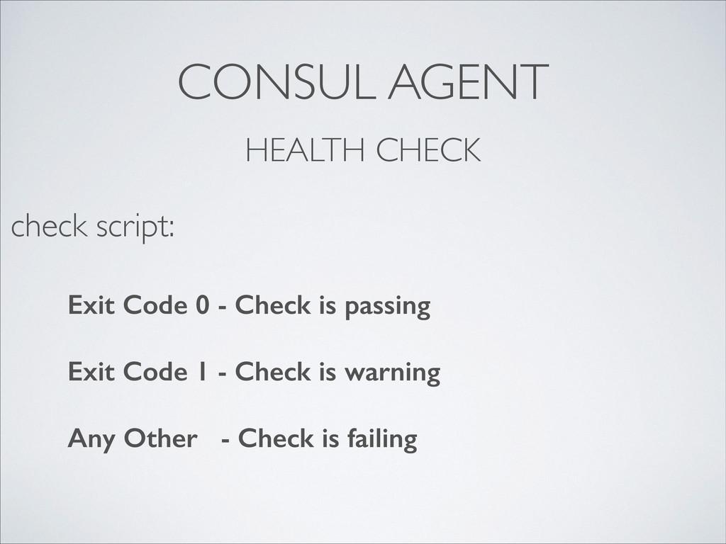 CONSUL AGENT HEALTH CHECK Exit Code 0 - Check i...