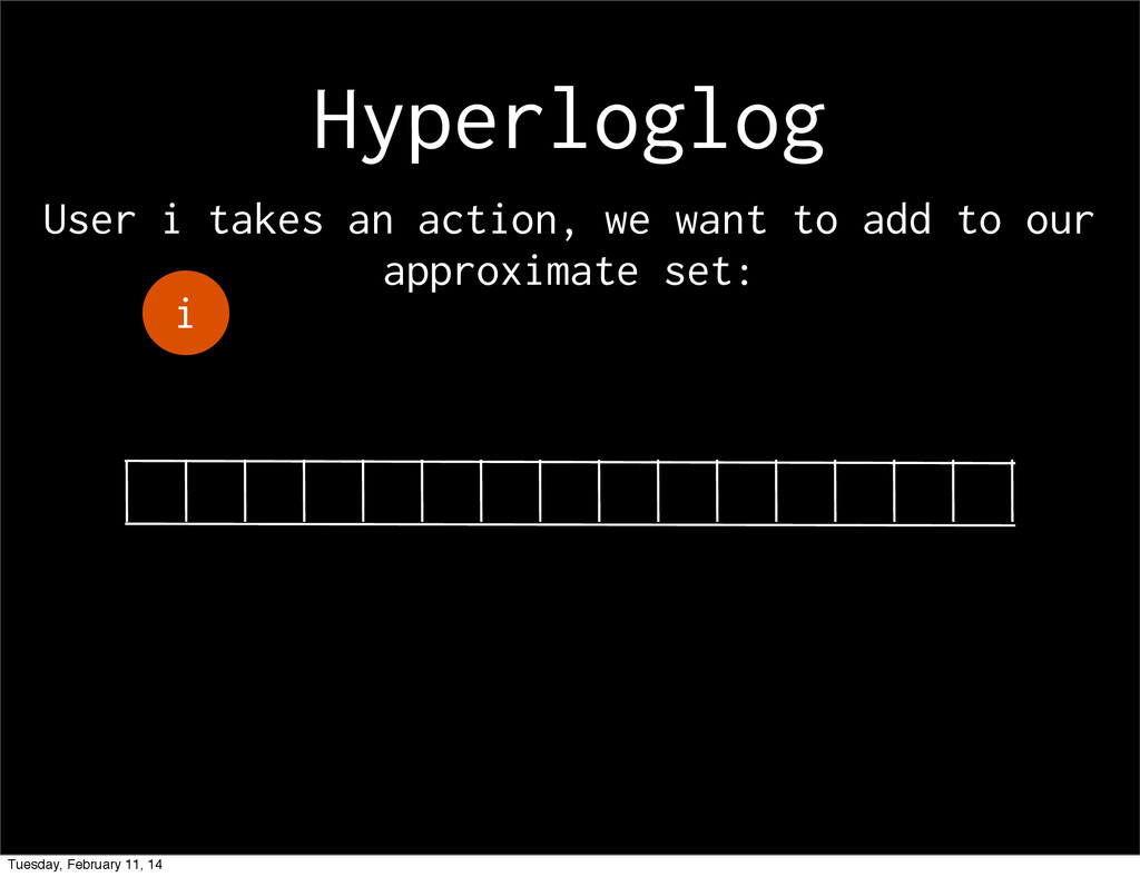 Hyperloglog i User i takes an action, we want t...