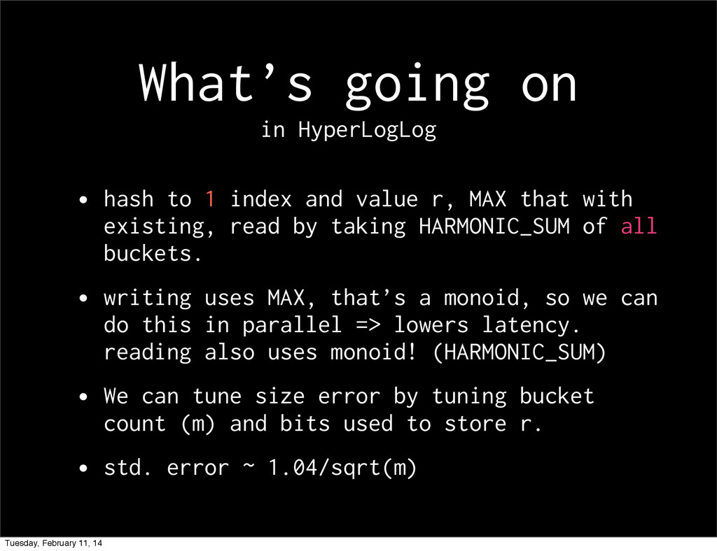 What's going on • hash to 1 index and value r, ...