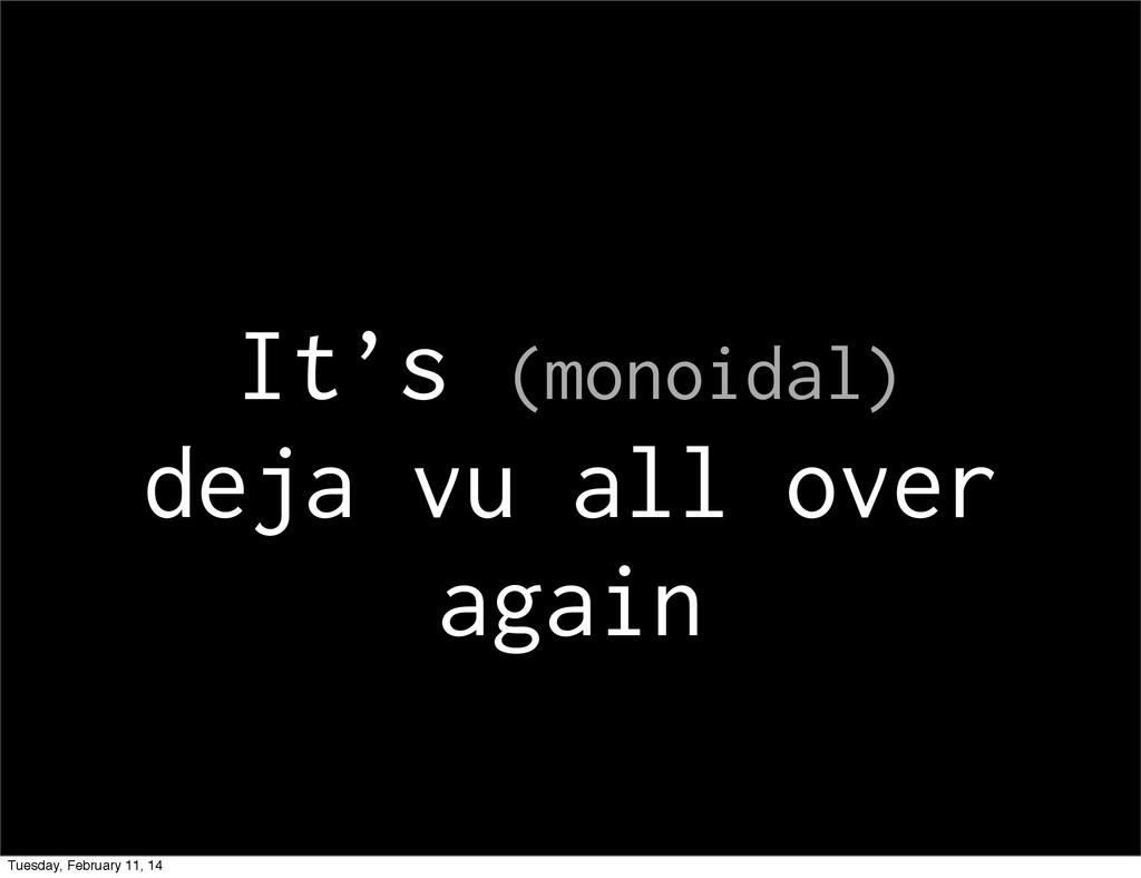It's (monoidal) deja vu all over again Tuesday,...
