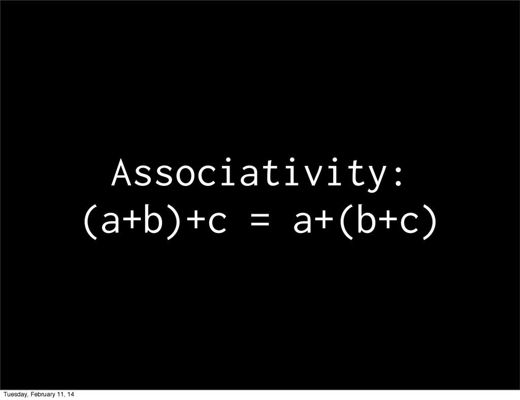 Associativity: (a+b)+c = a+(b+c) Tuesday, Febru...