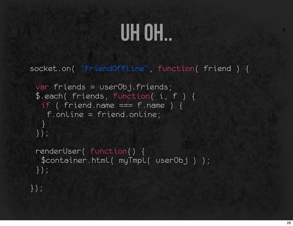 "uh oh.. socket.on( ""friendOffline"", function( f..."