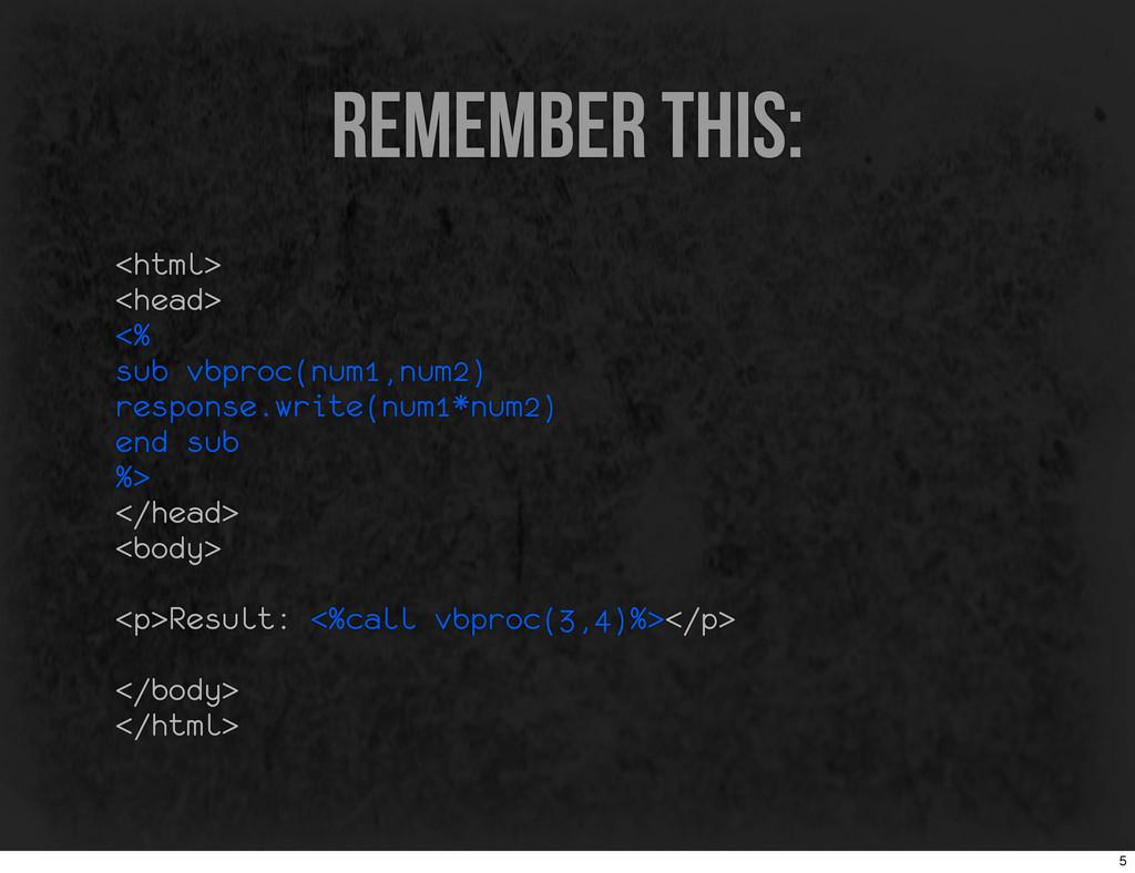 remember this: <html> <head> <% sub vbproc(num1...