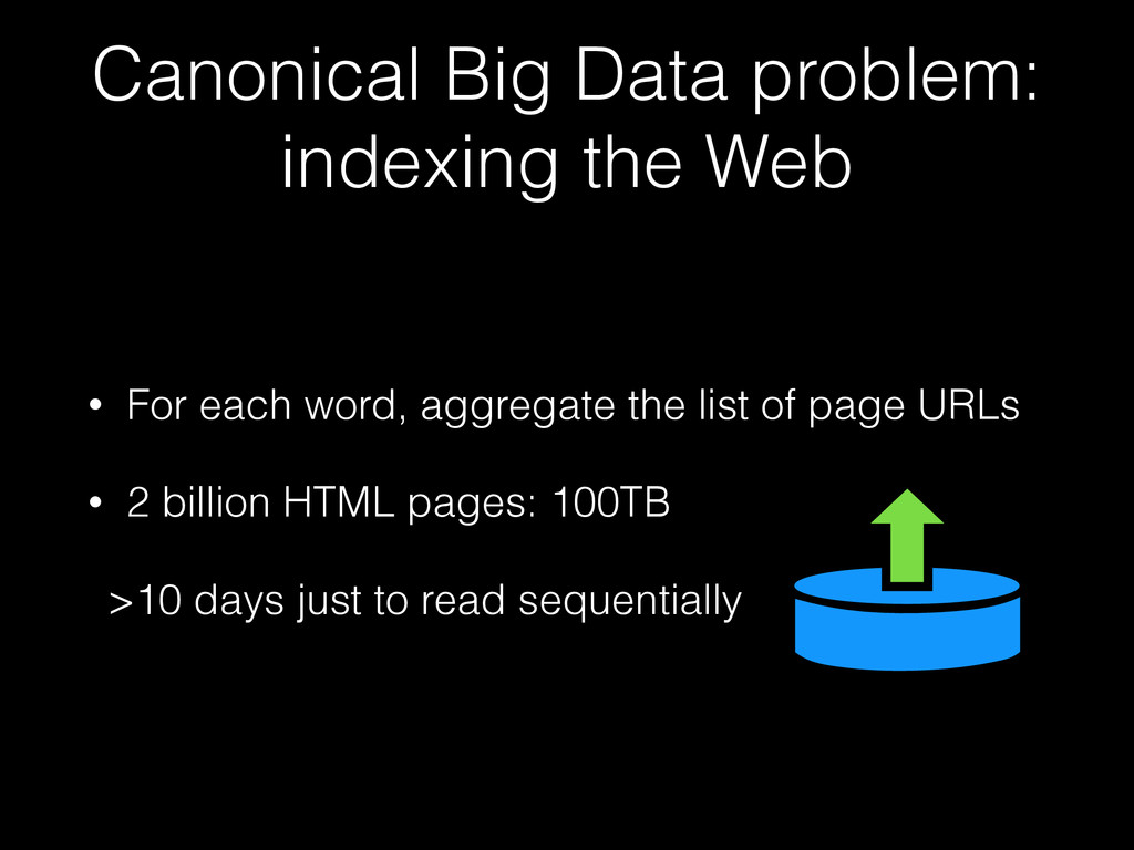 Canonical Big Data problem: indexing the Web • ...