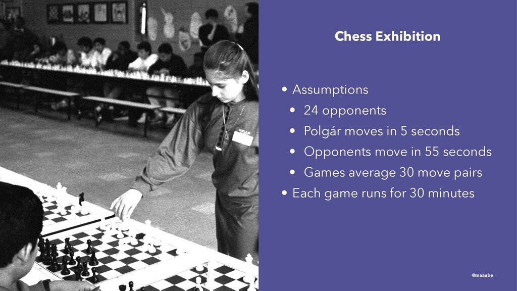 Chess Exhibition • Assumptions • 24 opponents •...