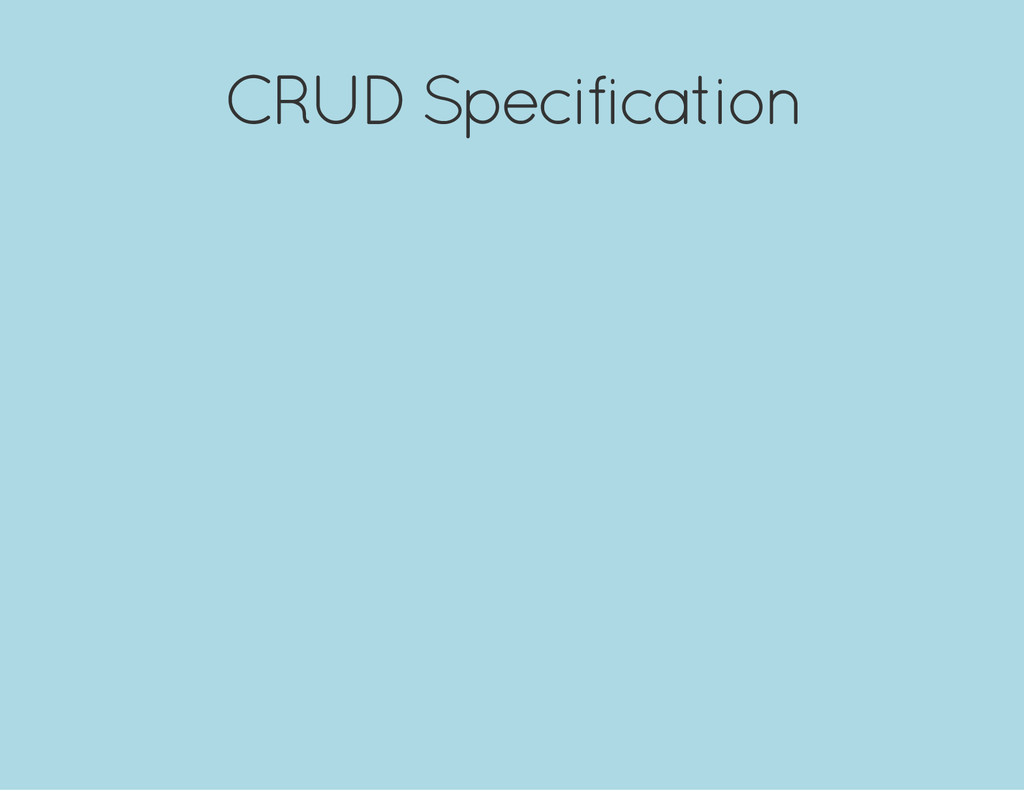 CRUD Specification