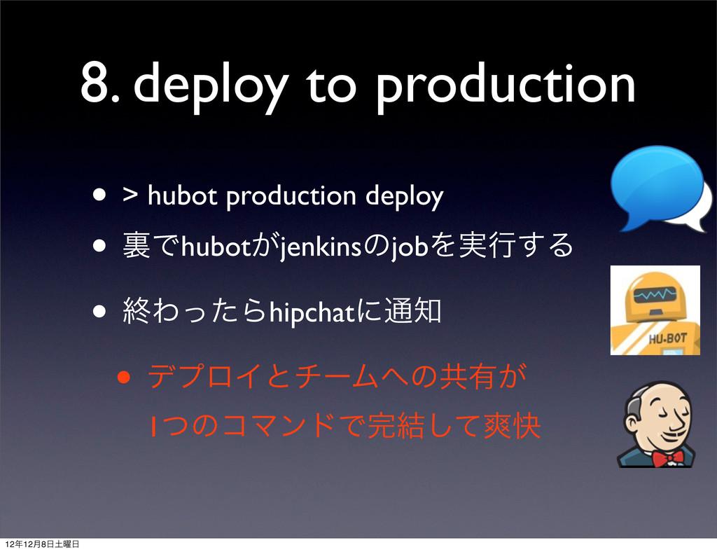 8. deploy to production • > hubot production de...
