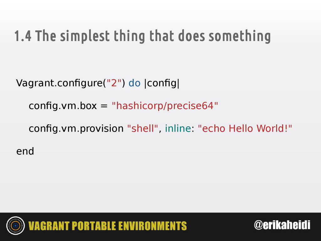 1.4 The simplest thing that does something Vagr...