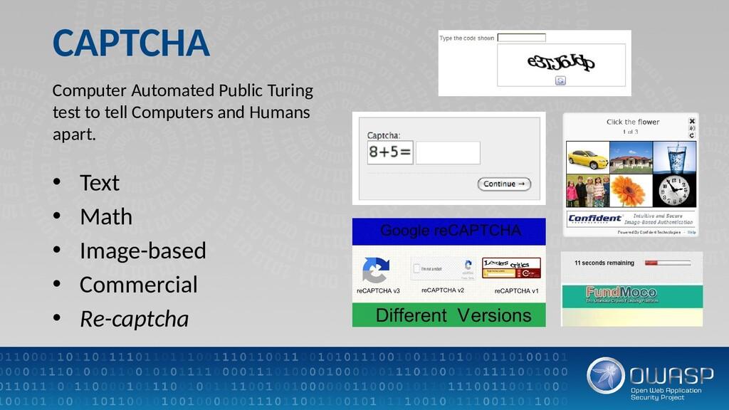 CAPTCHA • Text • Math • Image-based • Commercia...