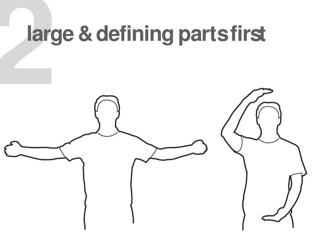 2 large & defining parts first