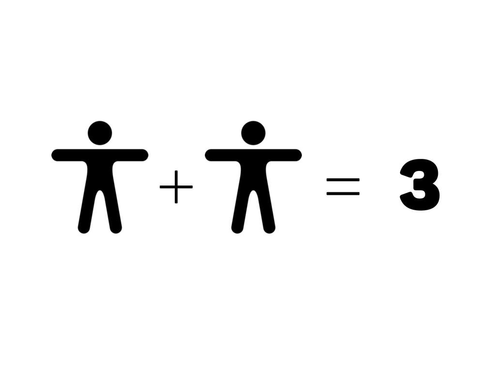 + = 3