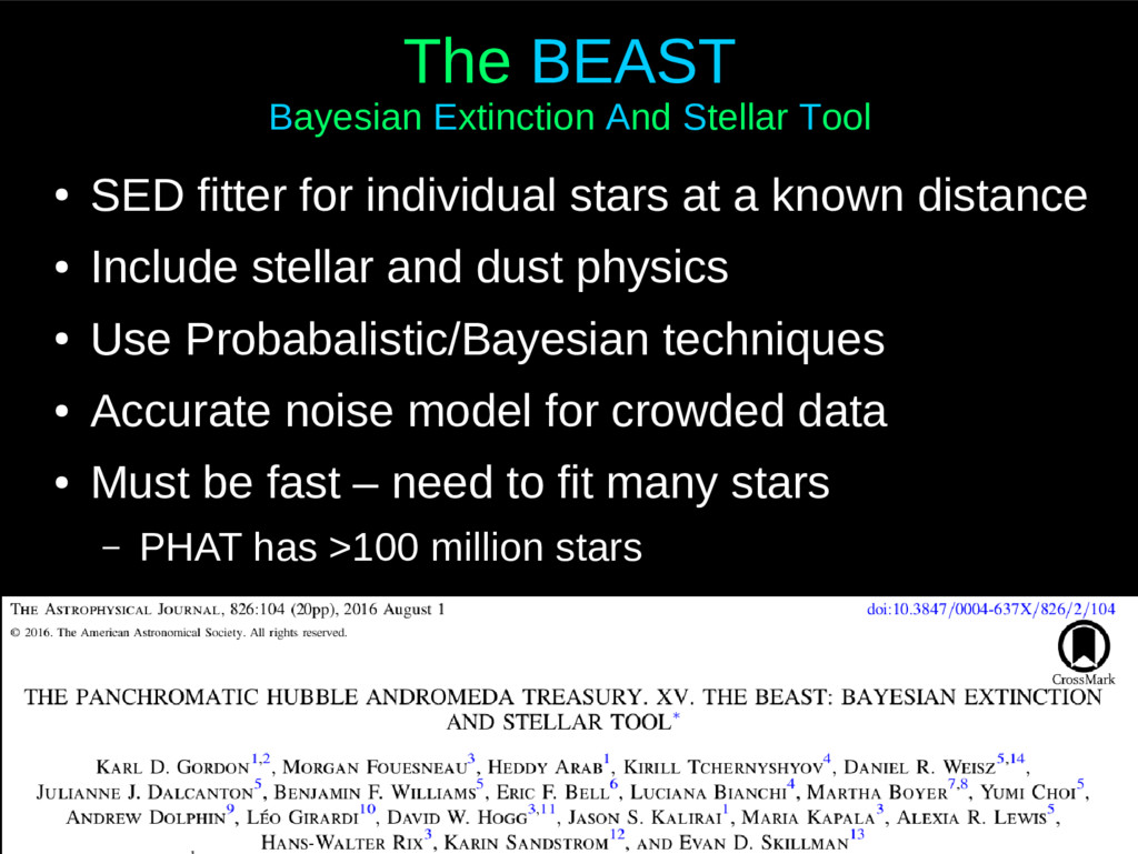 The BEAST Bayesian Extinction And Stellar Tool ...