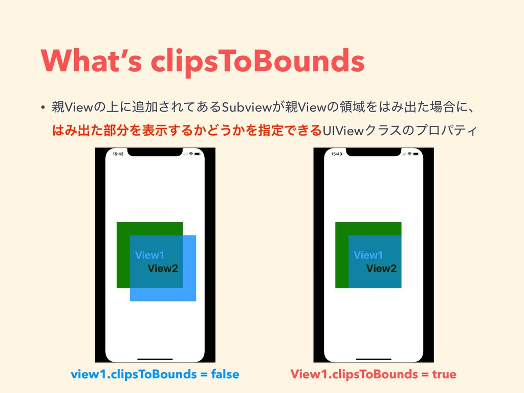 What's clipsToBounds API Roadmap • ਌Viewͷ্ʹ௥Ճ͞Ε...