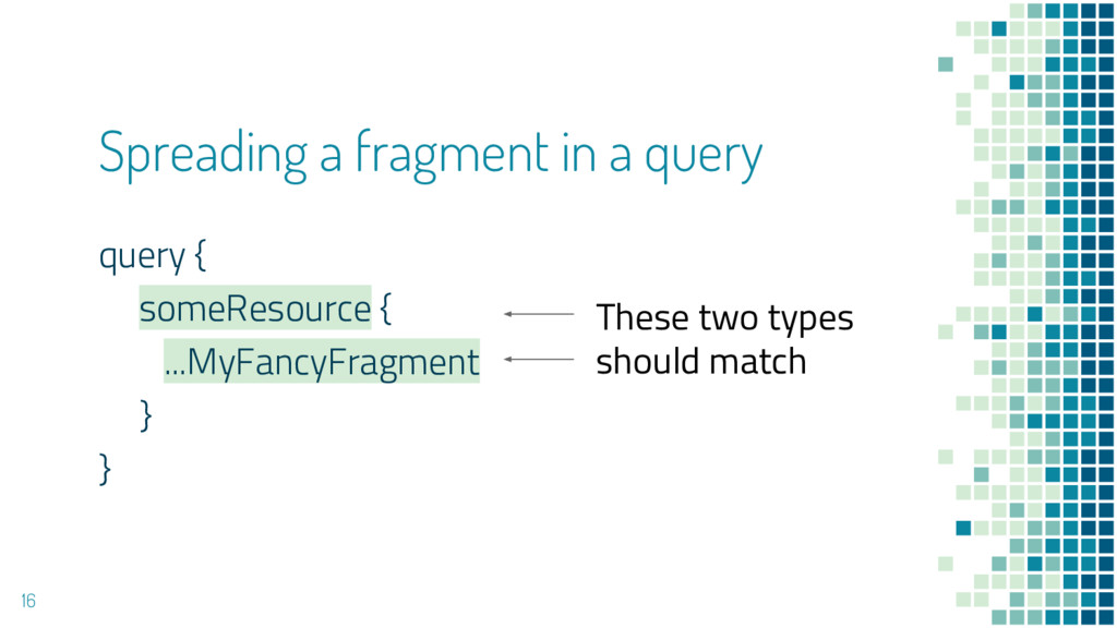 Spreading a fragment in a query query { someRes...