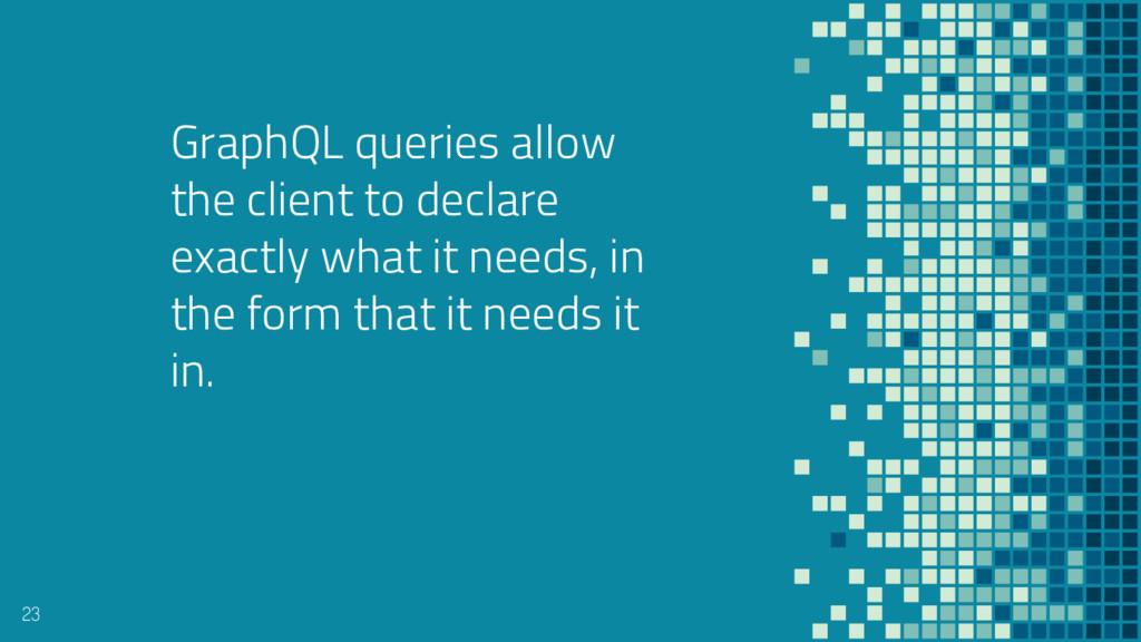 GraphQL queries allow the client to declare exa...