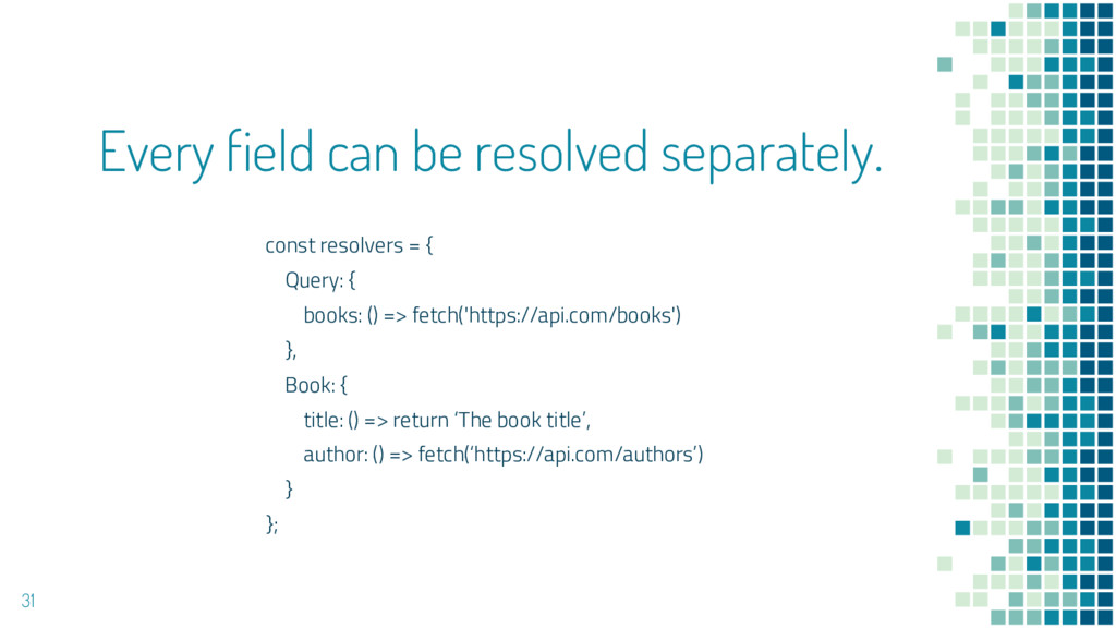 Every field can be resolved separately. 31 cons...