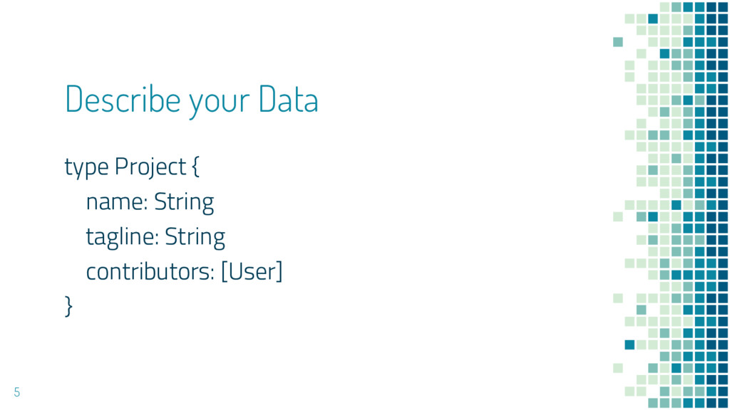 Describe your Data type Project { name: String ...