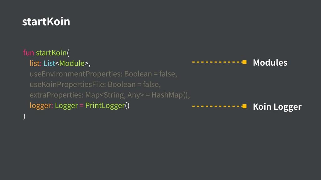 fun startKoin( list: List<Module>, useEnvironme...
