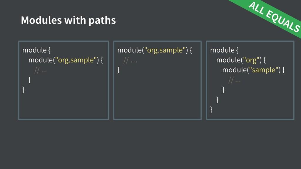 """module { module(""""org.sample"""") { // ... } } Modu..."""