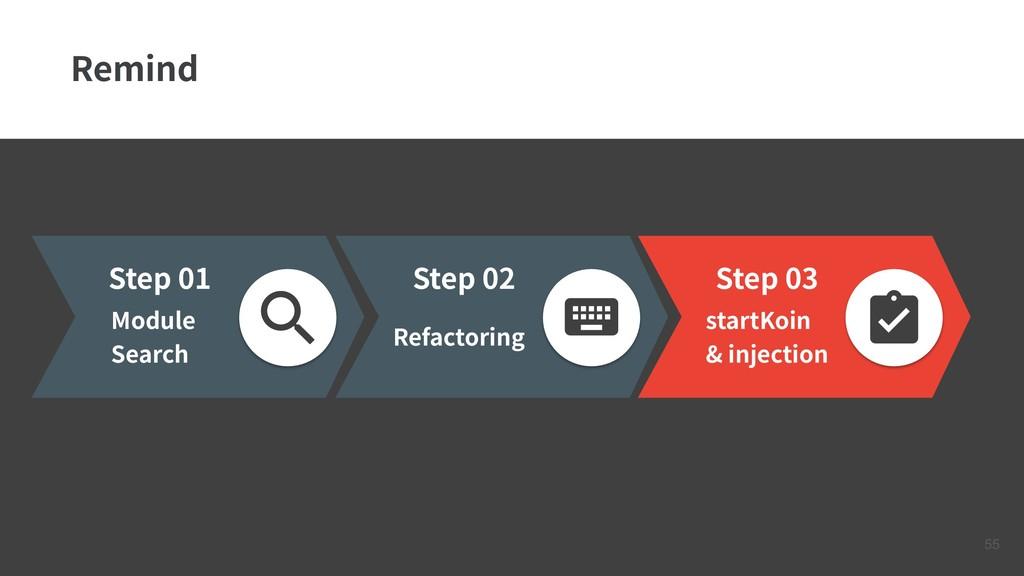 !55 Remind Step 03 startKoin & injection Step 0...