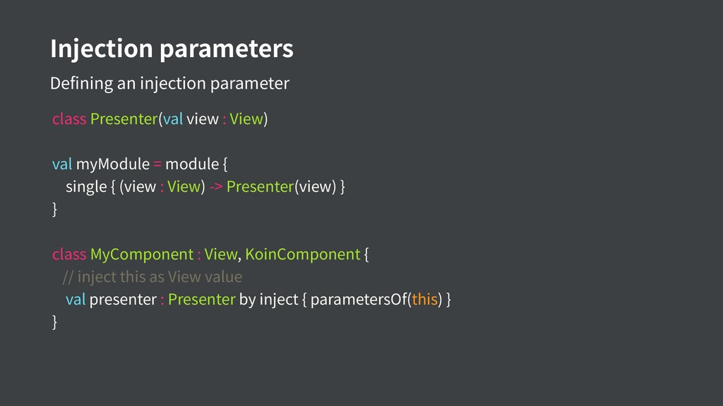 Injection parameters Defining an injection para...