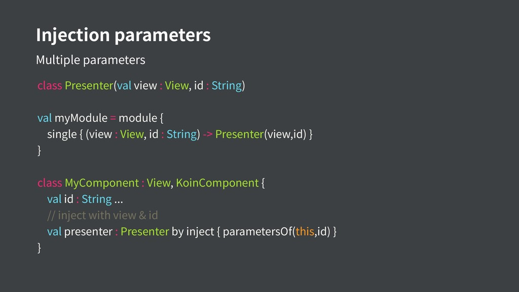 Injection parameters Multiple parameters class ...