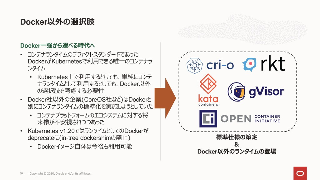Docker一強から選べる時代へ • コンテナランタイムのデファクトスタンダードであった Do...