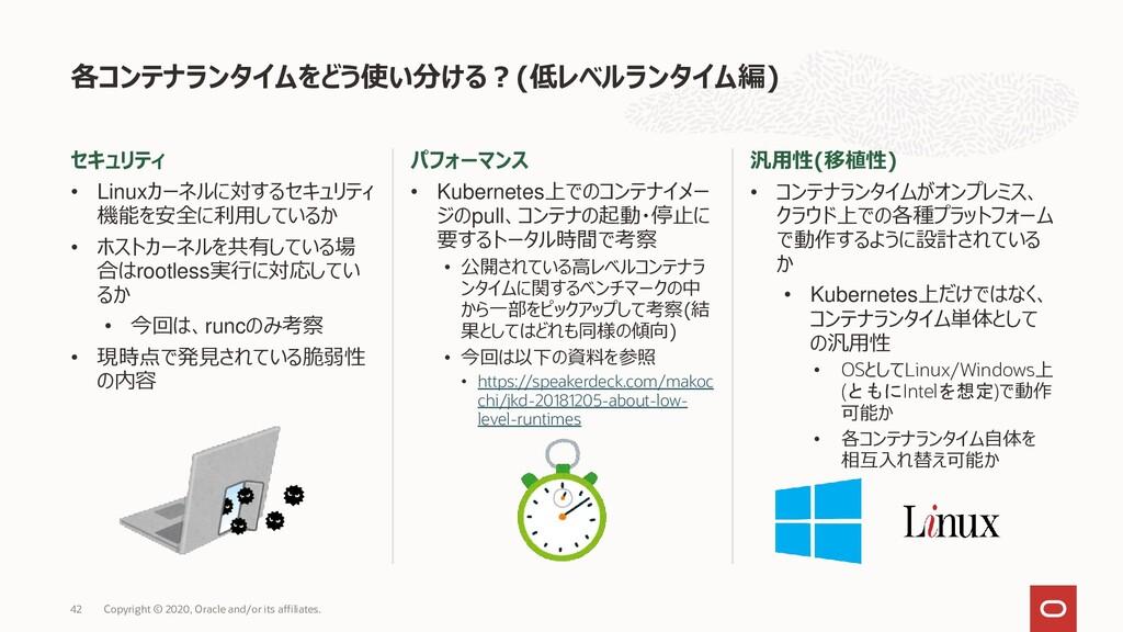 セキュリティ • Linuxカーネルに対するセキュリティ 機能を安全に利用しているか • ホス...
