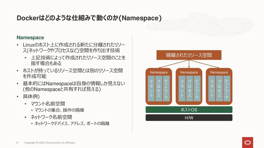 Namespace • Linuxのホスト上に作成される新たに分離されたリソー ス(ネットワー...