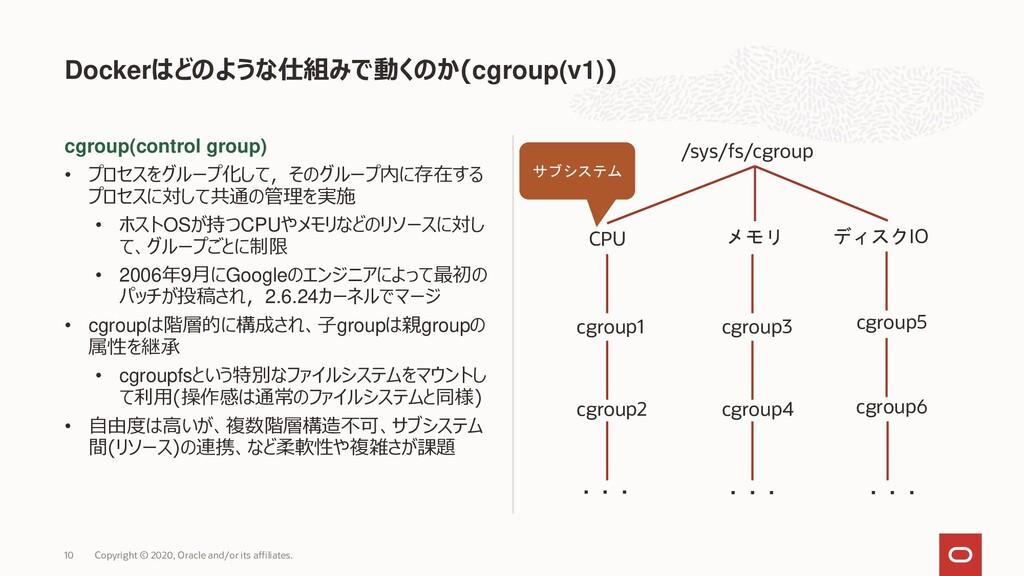 cgroup(control group) • プロセスをグループ化して,そのグループ内に存在...