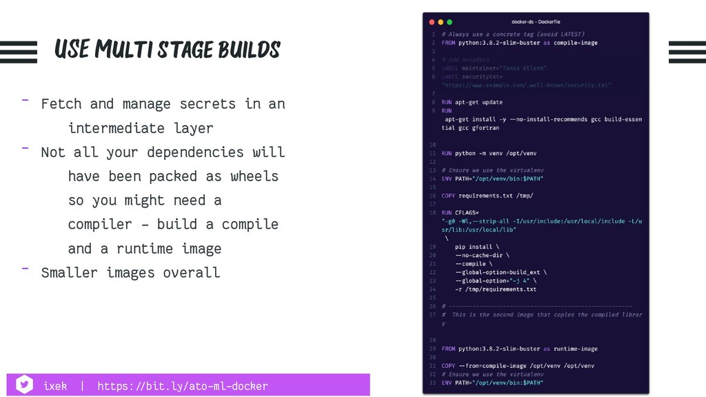 USE Multi stage builds - Fetch and manage secre...