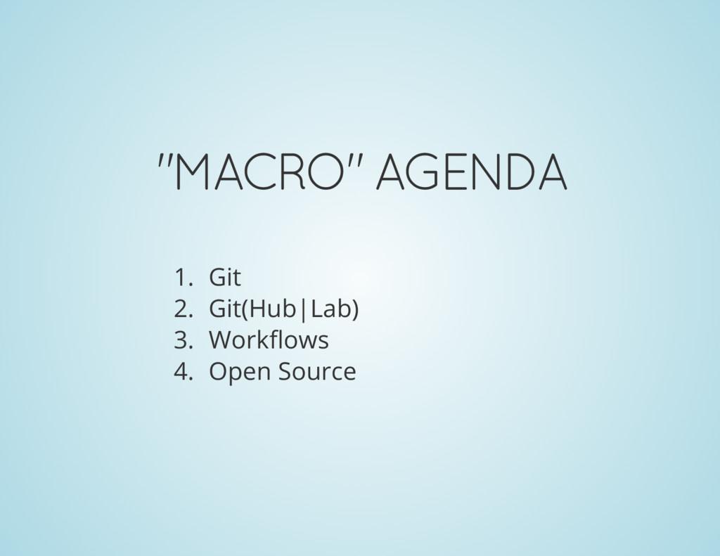 """MACRO"" AGENDA 1. Git 2. Git(Hub|Lab) 3. Workfl..."