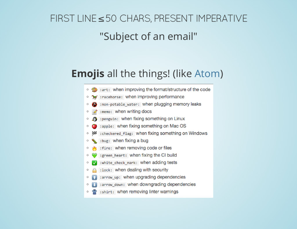 """FIRST LINE ≤ 50 CHARS, PRESENT IMPERATIVE """"Subj..."""