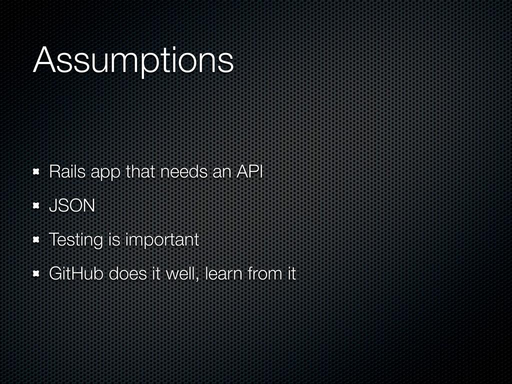 Assumptions Rails app that needs an API JSON Te...